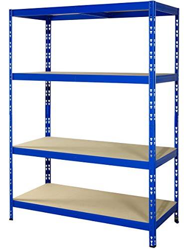 Schwerlastregal | 178,5x130x60cm | CALLIDUS BAUMARKT | blau pulverbeschichtet | 130 cm breit ✓ 4 Böden je max. 250 kg Tragkraft ✓ Lagerregal Metallregal Kellerregal