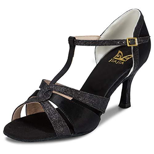 JIA JIA 20519 Damen Sandalen Ausgestelltes Heel Super-Satin mit funkelnden Glitter Latein Tanzschuhe Farbe Schwarz,Größe 40 EU