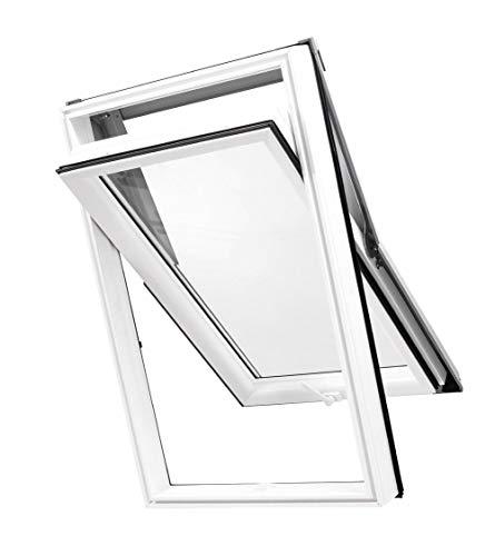 Kunststoff Dachfenster 66 x 118 cm - Günstig! Blitzversand! - SkyLight PREMIUM mit 2-fach Verglasung und Eindeckrahmen | innen: weiß, außen: grau