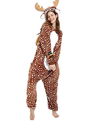CASABACO Women Deer Costume Adult Reindeer Onesie Onepiece Pajama, Dot, M