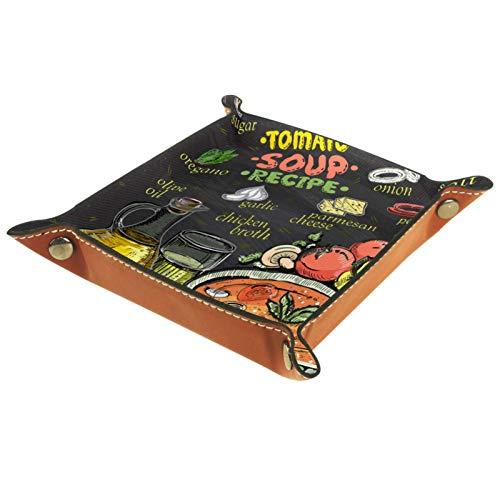 ZDL Caja de almacenamiento para recetas de sopa de tomate, diseño de pizarra, organizador para llaves, teléfono, moneda, cartera, relojes, etc. 16 x 16