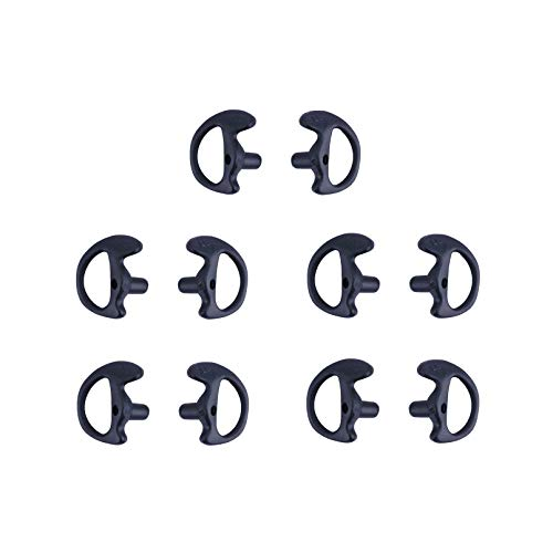 KS K-STORM Two Way Radio Ear Mold Replacement Soft Silicone Ear Insert for Acoustic Coil Tube Earpiece (Black, 5 Pair Small)