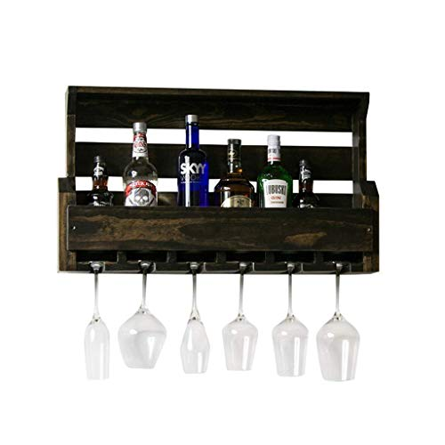 Estante de Vino Retro Estante de Vino Simple Estante de Vino Colgante de Pared Cocina Hueco de Madera Maciza Organizador de Estante de Vino Vino de champán (Color: C Tamaño: 54Cm)