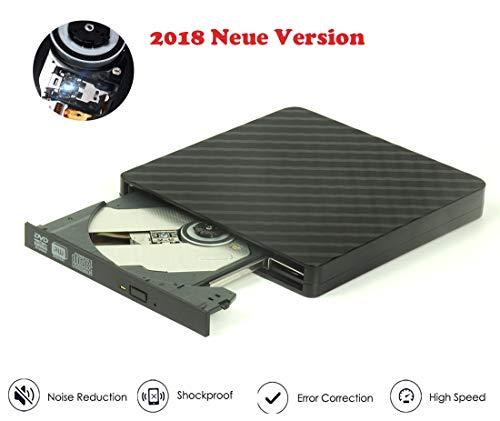 Externes CD DVD Laufwerk Portable USB3.0 DVD-RW DVD/CD Brenner für Laptop/Desktop z.B Lenovo Acer ASUS PC unter Windows und Mac OS für Mac, MacBook Pro/Air, iMac, Conhee - Schwarz