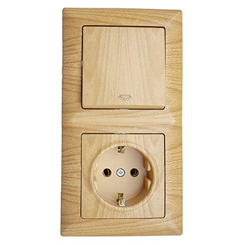 Gunsan Visage - Enchufe combinado con interruptor de luz, contacto de protección empotrado, aspecto de madera de ácorno