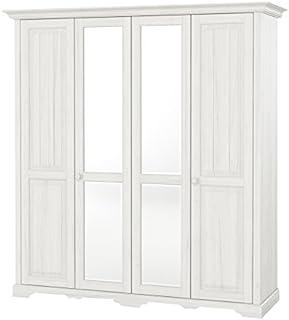 Telmex Pisa 4 Portes Pin, Blanc, 64 x 204 x 217 cm