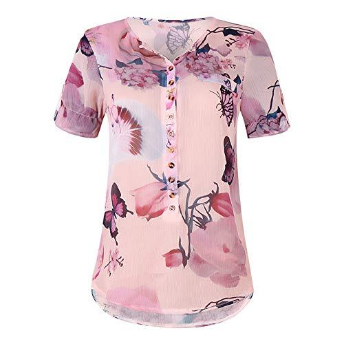 Nobrand Hemd, kurzärmelig, bedruckt, Knopfleiste aus Chiffon Gr. XXXXL, rose