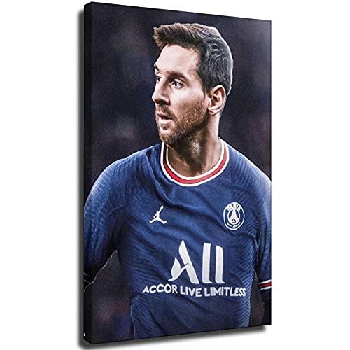 Póster de fútbol Lionel Messi Paris Barcelona, lienzo para decoración de pared, póster para el hogar, sala de estar, oficina, marco de regalo, 30 x 45 cm