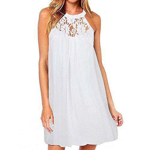ESAILQ Damen Kleid Abendkleid Schulterfreies Cocktailkleid Jerseykleid Skaterkleid Knielang Elegant Festlich Asymmetrisches Partykleid(XXL,Weiß)