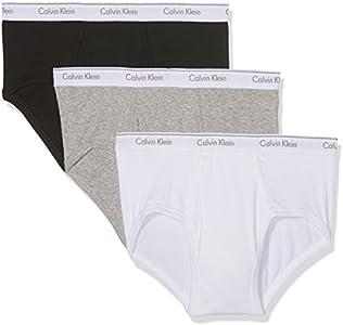 Calvin Klein 3p Brief Slip, Multicolor (Black/White/Grey Heather), Medium (Pack de 3) para Hombre