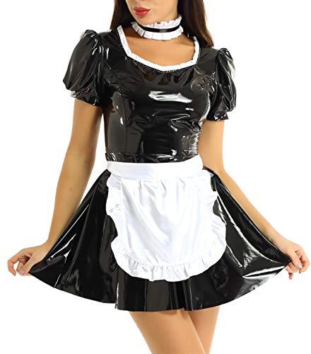 inlzdz Damen Dienstmädchen Kostüm Wetlook Lack Leder Kleider+ Schürze+Halsband French Maid Uniform Outfit Dessous Set Halloween Faschings Kostüm Schwarz L