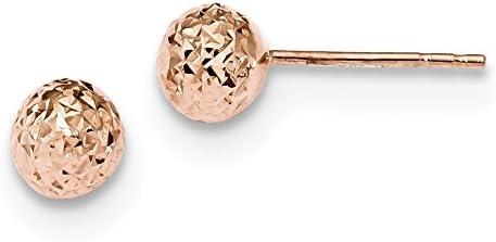 14k Rose Gold 6mm Diamond-Cut Ball Post Earrings