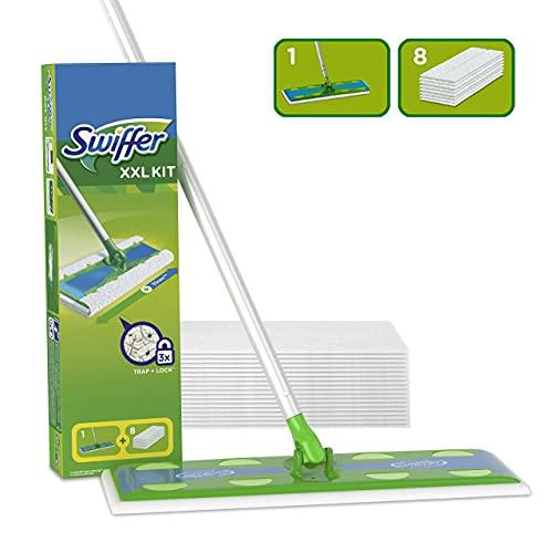 Swiffer Lavapavimenti XXL Cattura Polvere Dry, 1 Manico, 8 Panni, Cattura e Intrappola Polvere e Sporco, Ottimo per I peli di Animale, per Tutti I Tipi di Pavimenti, Maxi Formato, Starter Kit