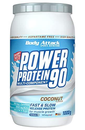 Body Attack Power Protein 90, Coconut Cream, 1 kg, 5K Eiweißpulver mit Whey-Protein, L-Carnitin und BCAA für Muskelaufbau und Fitness