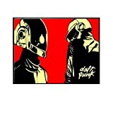 SDGW Máscara De Casco Daft Punk, Póster De Música E Impresión En Lienzo, Pintura Artística, Cuadros De Pared para La Decoración De La Sala De Estar, Decoración del Hogar, 60X80Cm Sin Marco