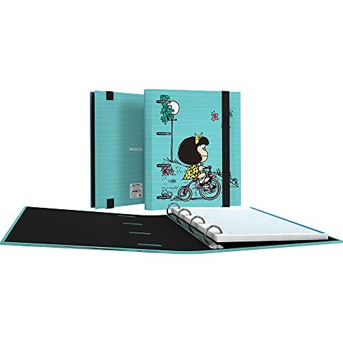 Mafalda 88112639. Carpeta 4 Anillas con Recambio Hojas, A5, Cuadrículadas 5x5, Separadores, Sobre Transparente, Lomo Curvo, Carpebook, Colección Mafalda, Bici