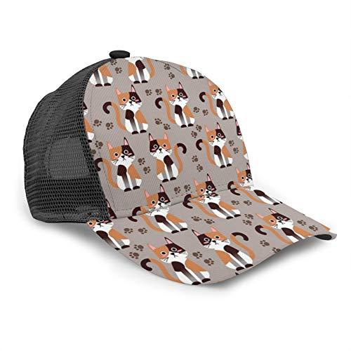 Popluck Calico Cats - Berretto da baseball unisex con bordo curvo in rete, regolabile, universale per esterni, con motivo gatti