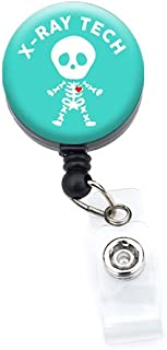 Sizzle City Retractable Badge Reels, Badge Holders, Name Tags (Alligator/Swivel Clip, Xray Tech Skeleton_Turquoise 1.25)