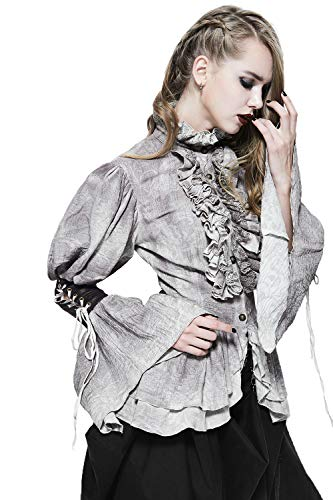 Gothic Dames Elegante Kant Ruches Lange Mouw Grijs Vintage Blouse Steampunk Fashon Piraat Stijl Vrouwen Novelty Tops Tee Shirts