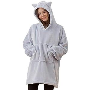 ナイスデイ mofua (モフア) 着る毛布 ポンチョ パーカー スモークブルー M もこもこ ルームウェア ガウン 620022V9