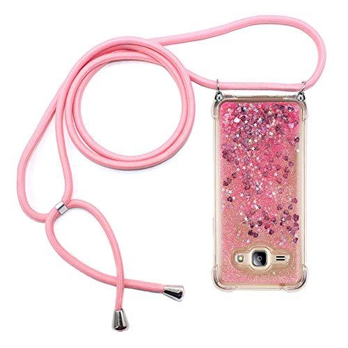 Ptny Case Funda Colgante movil con Cuerda para Colgar Samsung Galaxy J1 2016 Carcasa Correa Transparente de TPU con Cordon para Llevar en el Cuello con Ajustable Collar Cadena Cordón en Rosa