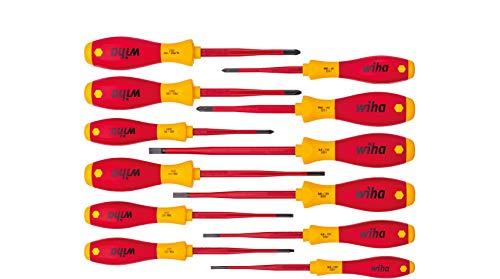 Wiha Schraubendreherset SoftFinish slimFix 12 teilig, Schraubenziehersatz VDE Elektriker, isoliert 1000v, Schlitz/Kreuz/Kreuzschlitz/Torx