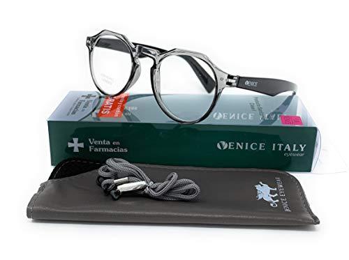 Gafas de lectura Unisex Moda Diseño Hex en Colores: Negro, Gris. VENICE Ray - Dioptrías: 1 a 3,5 (Gris, 1,00)