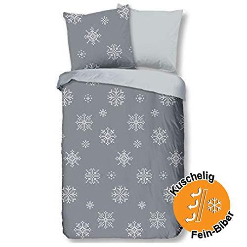 Aminata Kids Premium Biber-Wende-Bettwäsche-Set grau Schneeflocken 135x200 cm + 80x80 cm Damen, Männer, Baumwolle mit Reißverschluss, Weihnachten, Winter-Motiv ist weich und kuschelig, Eiskristall