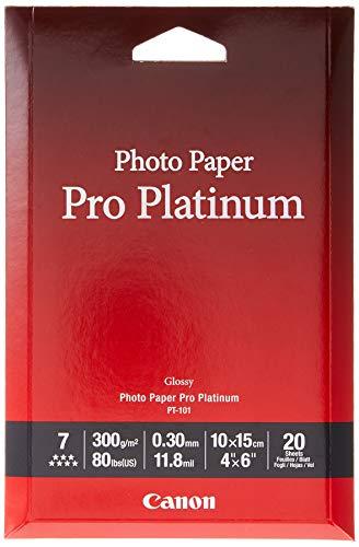 Canon PT-101, 10 x 15 cm Professionell Fotopapier Platinum (300 g/qm), 20 Blatt
