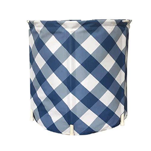 YWSZJ Plegable Aislamiento de algodón y PVC Bañera, Bañera Inflable portátil Plegable de plástico Bañera Bañera de hidromasaje portátil Inflable remojo (Color : Blue)
