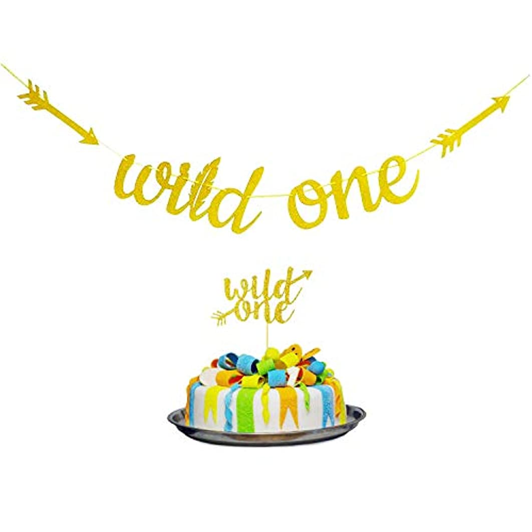 4' Gold Glittery Wild One Banner and 6.8'' Cake Topper,Gold Glitter Garland Baby Shower Banner & Cupcake Topper for Boy or Girl Baby First Birthday Party Decoration Bday 1st Party eejzp756463