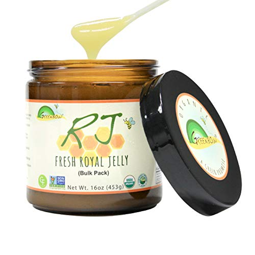 GREENBOW Organic Fresh Royal Jelly - 100% USDA Certified Organic, Pure, Gluten Free, Non-GMO Royal Jelly - Highest Quality Royal Jelly - (453g)