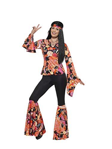 Smiffys 45516L - Damen Hippie Kostüm, Oberteil, Hose, Kopftuch und Medaillon, Größe: 44-46, mehrfarbig