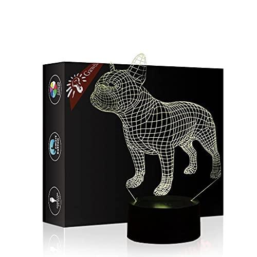 Bella Regalo Bulldog francese Lampada del lampada 3D, 16 colori che cambiano interruttore tavola Desk Desk Decoration Lampada notturna presente con il giocattolo del telecomando per il tema del cane a