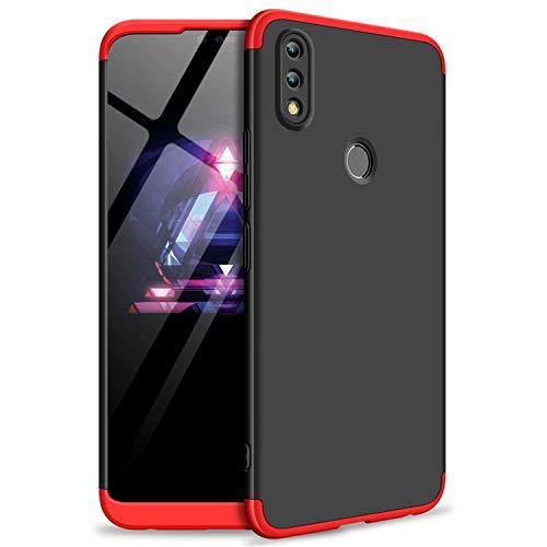 Homikon 360 Grad Hart PC Hülle 3 in 1 Komplettschutz Tasche Plastik Harte Handyhülle mit Tempered Glas Panzerglas Ganzkörper-Koffer Schutzhülle Kompatibel mit Huawei Honor 8X Max - Schwarz Rot