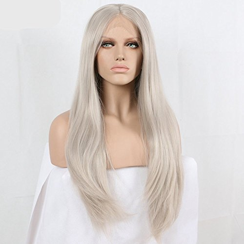 Xiweiya Long Natural Wavy Ash Blonde Synthetic Lace Front Wigs Heat Resistant Fiber Silver Gray Straight Lace Wigs Soft Grey Hair Middle Part Wig for women 24 Inch