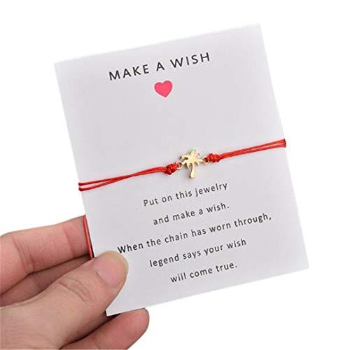 ZSDFW Pulsera con tarjeta hecha a mano con colgante de árbol de coco, pulseras de la amistad, pulsera ajustable para mujeres y niñas, accesorios de regalo, color rojo