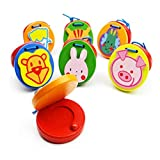 Supvox 6pcs Wooden Finger Castanets Round Cute Animal Pattern Musical Clappers Percussion Instrument for Baby Children (Random Style)