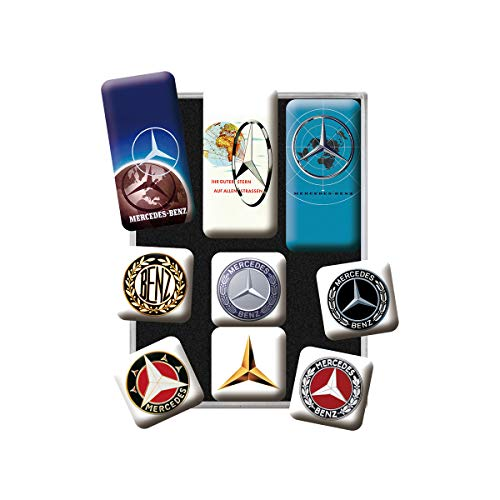 Nostalgic-Art 83103 Logo Evolution | Retro Set (9teilig) | Kühlschrank-Magnete Mercedes-Benz Logos – Geschenk für Auto Accessoires Fans, Magnetset für Magnettafel, Vintage Design, 9 Stück
