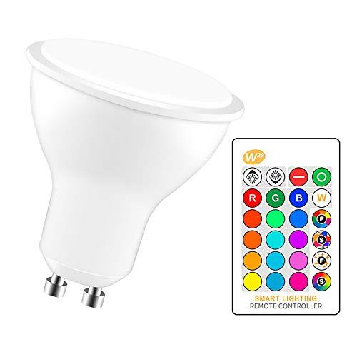 Not application Bombilla LED Regulable de 8W AC 85-265V RGBW - Focos LED Que cambian de Color RGB con Enchufe GU10 con Control Remoto IR para iluminación Ambiental de Seguimiento del Paisaje