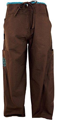 Guru-Shop Yogahose, Goa Hose mit Stickerei, Herren, Coffee, Baumwolle, Size:XL (52), Männerhosen Alternative Bekleidung