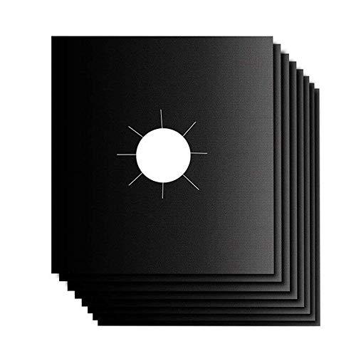 Gasherd Abdeckungen,Gas Range Protektoren 8 Stück Wiederverwendbare Gasherd-Matten für Schnelle Küchenreinigung, 27 x 27 cm(Schwarz)