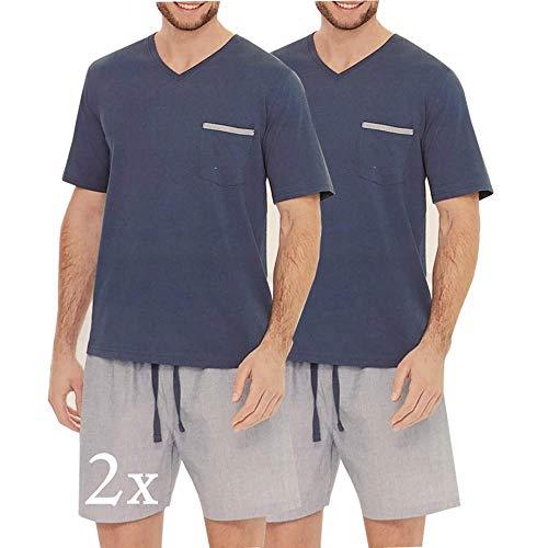 2er Pack Nightwear Herren Schlafanzug kurz Pyjama kurz Herren Shorty Schlafanzug aus 100% Baumwolle T-Shirt Schlafanzug Nachthemd Gr. M L XL (M, Blau_V)