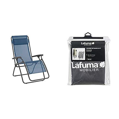 Lafuma Relax-Liegestuhl, Klappbar, RT 2, Blau, LFM4019-8547 & Schutzhülle für alle Relax-Modelle, anthrazit