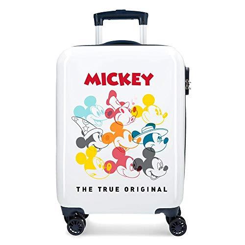 Disney Mickey Magic Maleta de cabina Blanco 37x55x20 cms Rígida ABS Cierre combinación 33L 2,8Kgs 4 Ruedas Dobles Equipaje de Mano