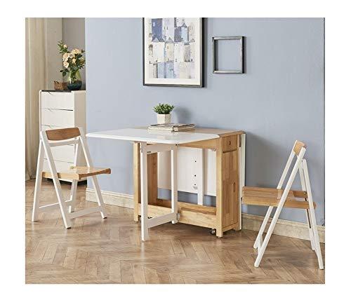 CHICAI 1.35M Plegable de 2 sillas de Comedor de la Mariposa de la Hoja de Mesas de Gota sólida de Madera Mobiliario de Cocina Natural