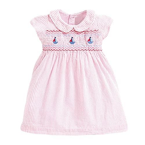 Zzx Little Maven 2021 Meisjes Jurk Peter Pan Kraag Jurk Roze Kleur Meisjes Liefde Jurken Leuke Kinderfeestjurken Kinderkleding (Color : Pink, Size : 85CM)