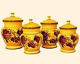 4pc ceramic canister set tuscany grape