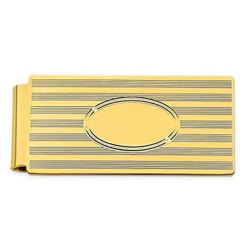 Chapado en oro de 14 quilates sólido pulido patrón grabable (solo frontal) líneas horizontales con bisagras clip de dinero joyería regalos para hombres