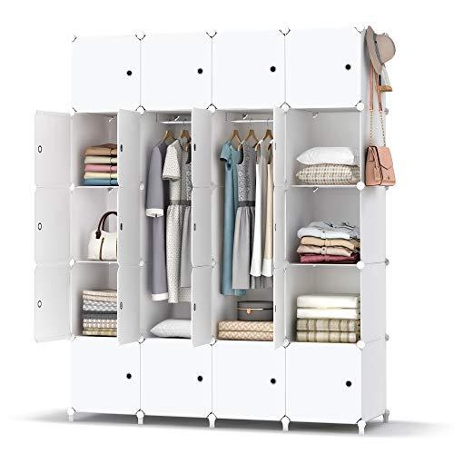 HOMIDEC Kleiderschrank, Tragbarer Regalsystem, 20 Würfel Schrank aus Kunststoff mit 2 Kleiderstange, Schlafzimmerschrank kleiderschrank Weiss für Schlafzimmer,180 x 142 x 46cm